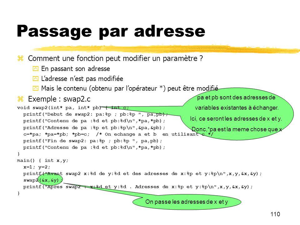 110 On passe les adresses de x et y pa et pb sont des adresses de variables existantes à échanger. Ici, ce seront les adresses de x et y. Donc,*pa est