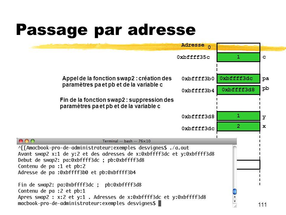 111 Passage par adresse 1 2 0 Adresse y … x 0xbffff3d8 0xbffff3dc 0xbffff3b0 pa pb 0xbffff3b4 0xbffff3d8 0xbffff3dc 2 1 Appel de la fonction swap2 : c