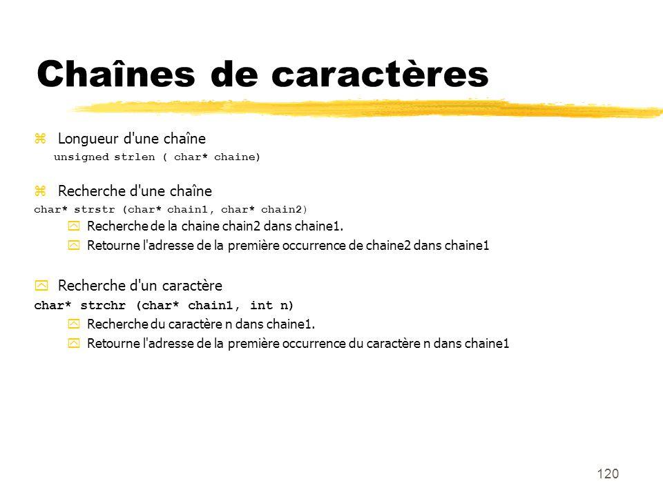 120 Chaînes de caractères Longueur d'une chaîne unsigned strlen ( char* chaine) Recherche d'une chaîne char* strstr (char* chain1, char* chain2) Reche
