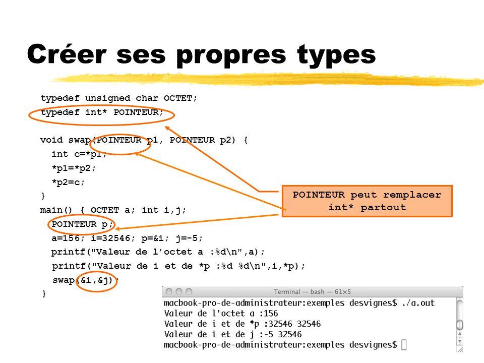 124 Créer ses propres types typedef unsigned char OCTET; typedef int* POINTEUR; void swap(POINTEUR p1, POINTEUR p2) { int c=*p1; *p1=*p2; *p2=c; } mai