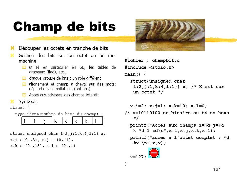 131 Champ de bits Découper les octets en tranche de bits Gestion des bits sur un octet ou un mot machine utilisé en particulier en SE, les tables de d