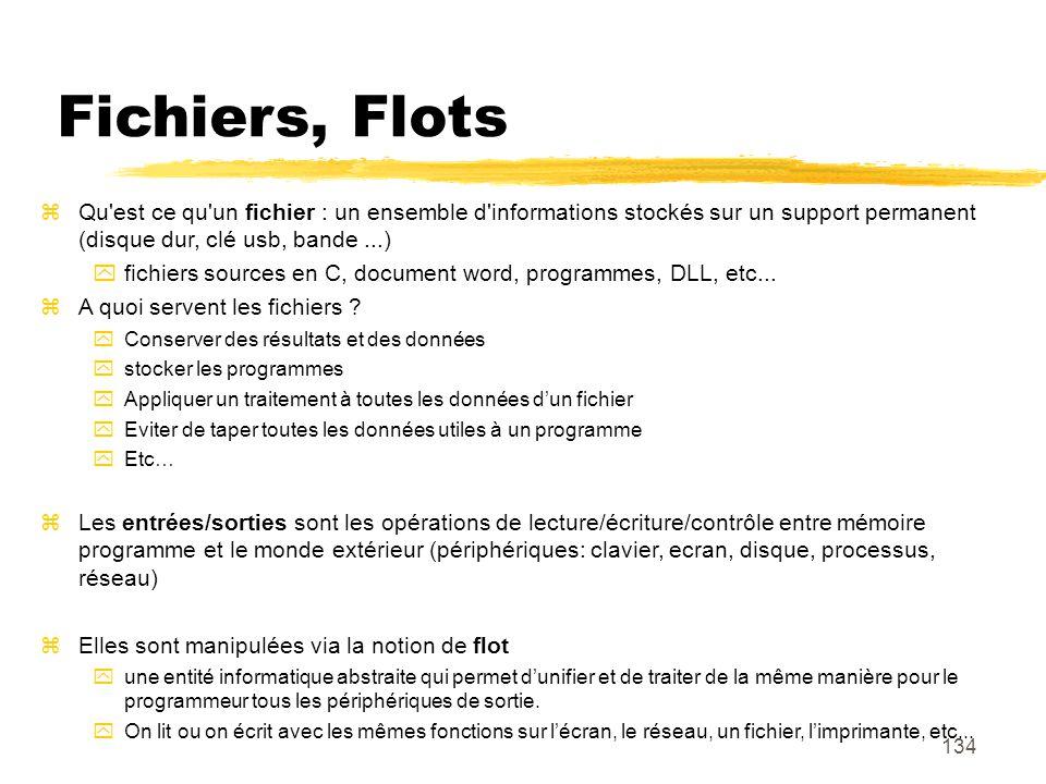 134 Fichiers, Flots Qu'est ce qu'un fichier : un ensemble d'informations stockés sur un support permanent (disque dur, clé usb, bande...) fichiers sou