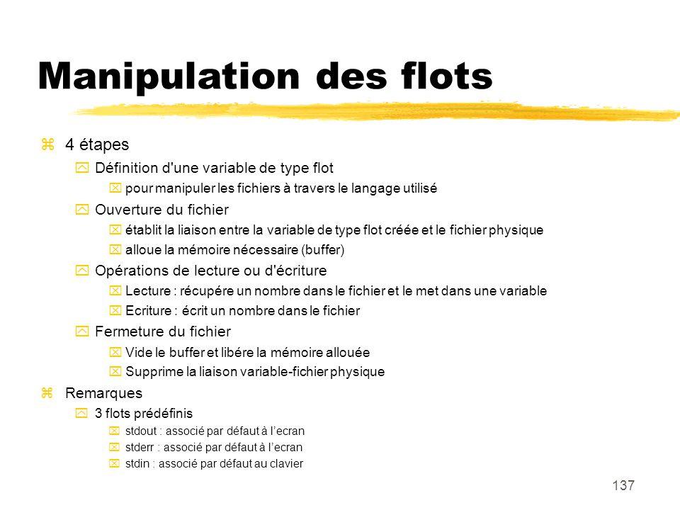 137 Manipulation des flots 4 étapes Définition d'une variable de type flot pour manipuler les fichiers à travers le langage utilisé Ouverture du fichi