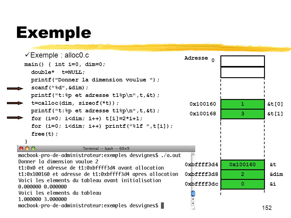 152 Exemple Exemple : alloc0.c main() { int i=0, dim=0; double* t=NULL; printf(