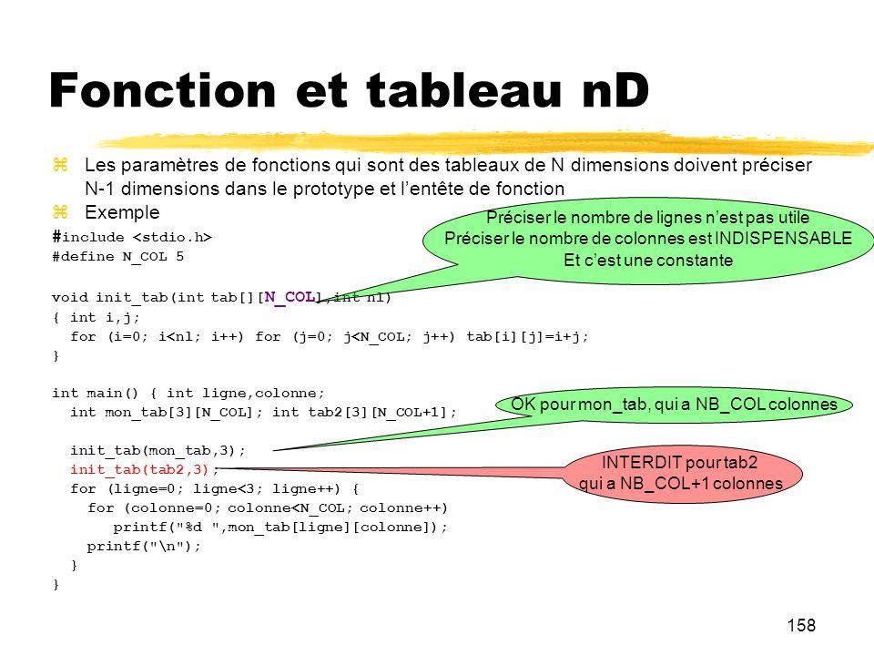 158 Fonction et tableau nD Les paramètres de fonctions qui sont des tableaux de N dimensions doivent préciser N-1 dimensions dans le prototype et lent
