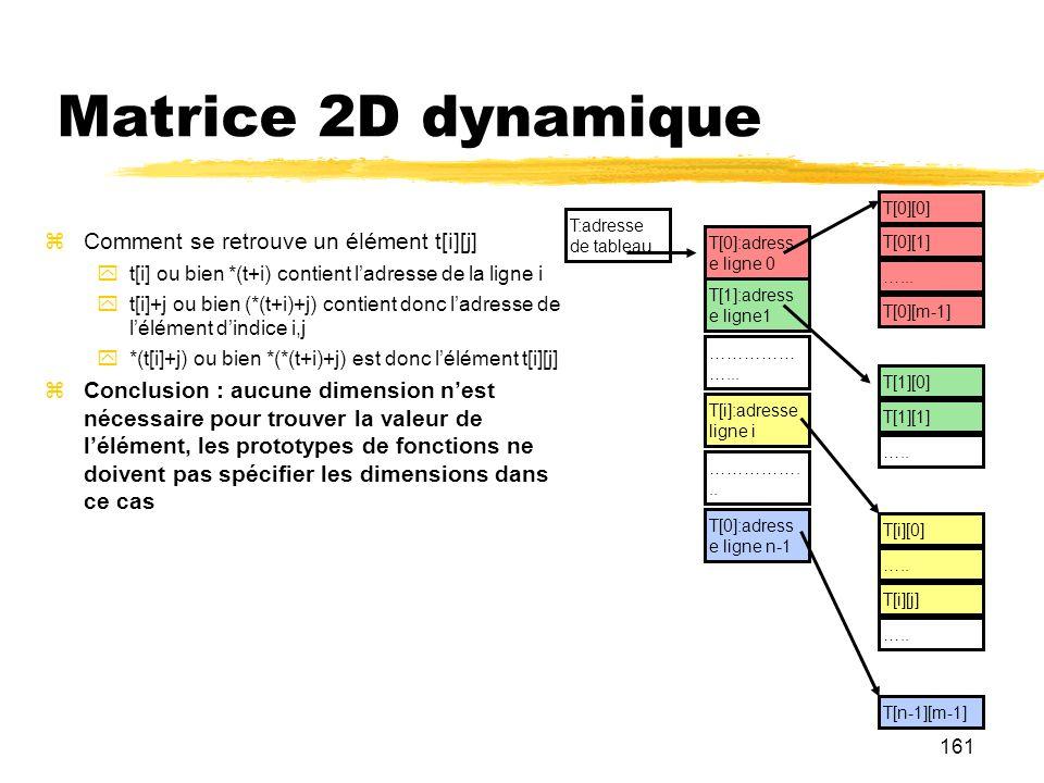 161 Matrice 2D dynamique Comment se retrouve un élément t[i][j] t[i] ou bien *(t+i) contient ladresse de la ligne i t[i]+j ou bien (*(t+i)+j) contient