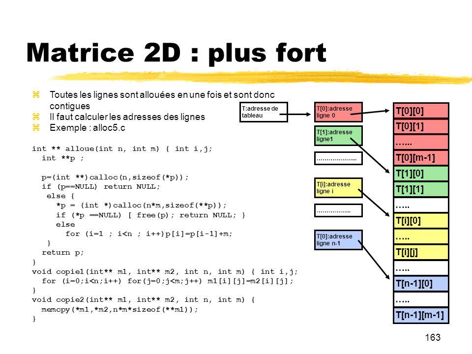 163 Matrice 2D : plus fort Toutes les lignes sont allouées en une fois et sont donc contigues Il faut calculer les adresses des lignes Exemple : alloc