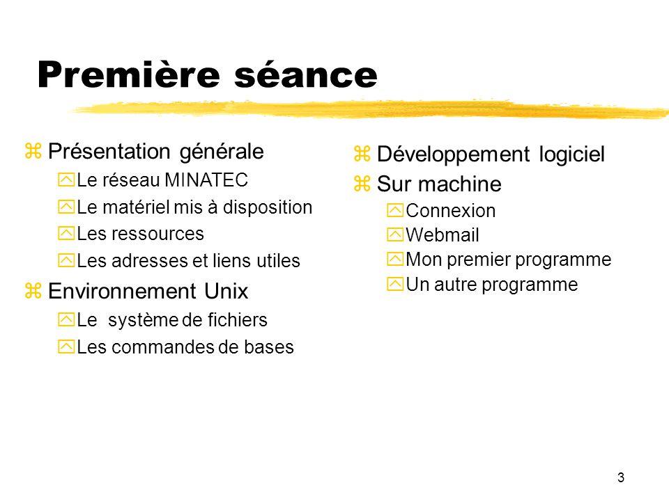 3 Première séance Présentation générale Le réseau MINATEC Le matériel mis à disposition Les ressources Les adresses et liens utiles Environnement Unix