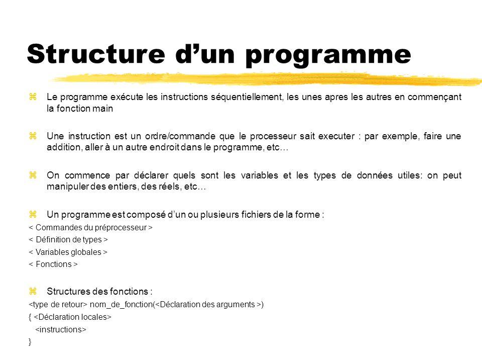Structure dun programme Le programme exécute les instructions séquentiellement, les unes apres les autres en commençant la fonction main Une instructi