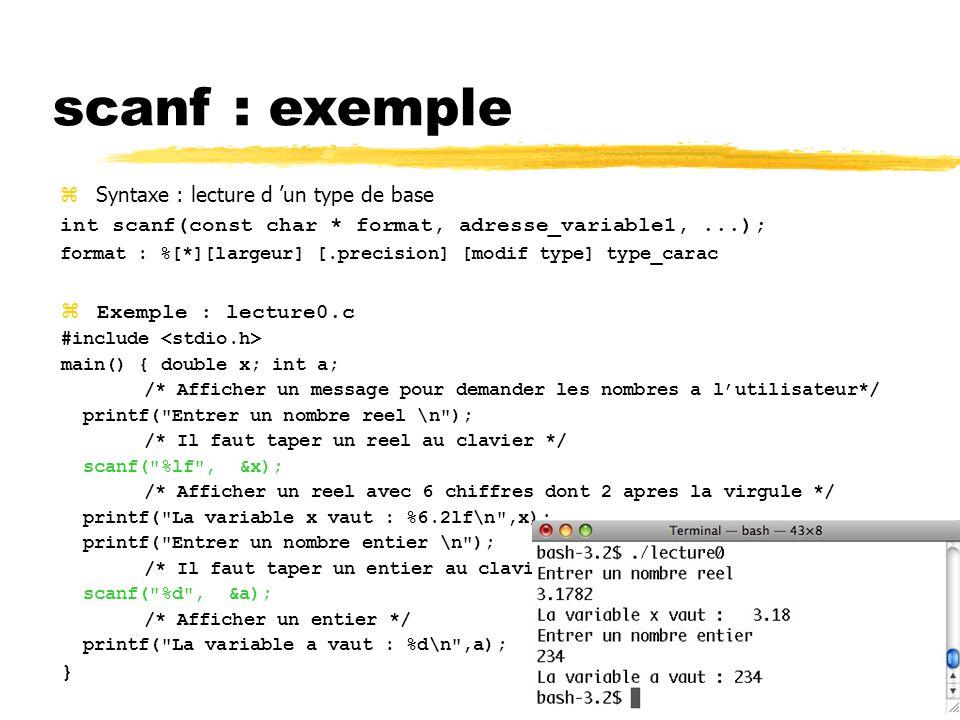 49 Syntaxe : lecture d un type de base int scanf(const char * format, adresse_variable1,...); format : %[*][largeur] [.precision] [modif type] type_ca