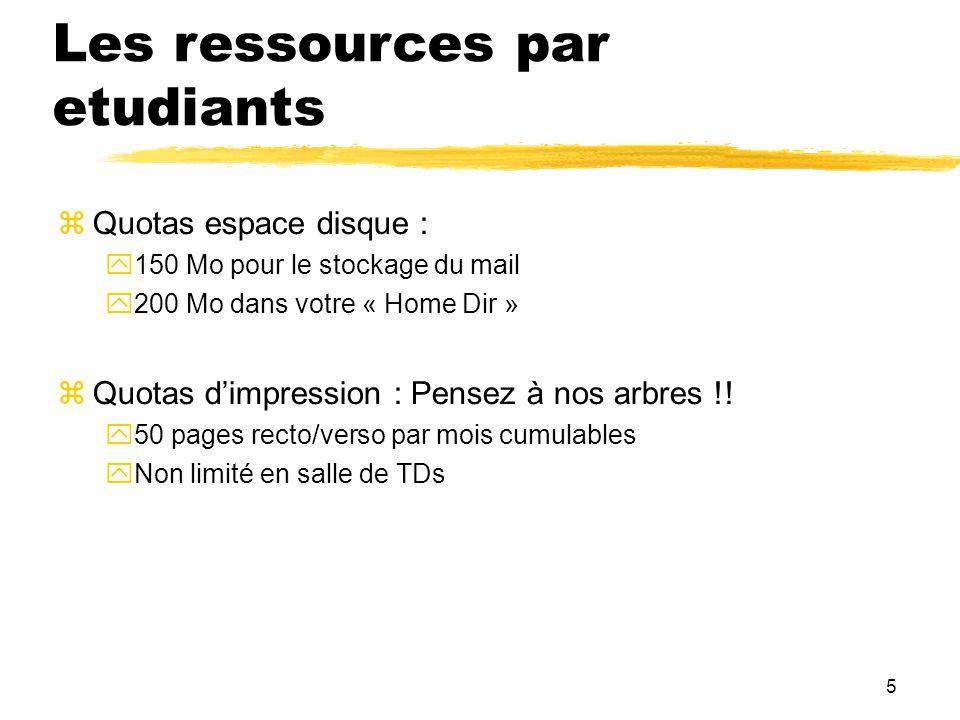 5 Les ressources par etudiants Quotas espace disque : 150 Mo pour le stockage du mail 200 Mo dans votre « Home Dir » Quotas dimpression : Pensez à nos