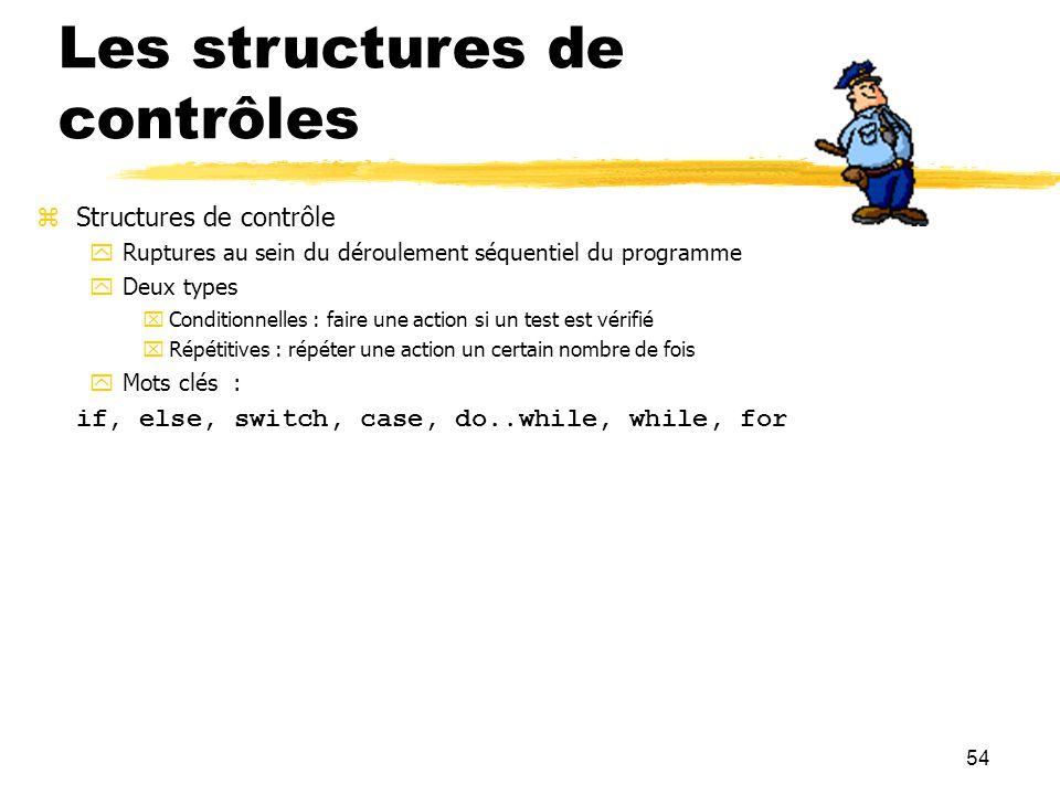 54 Les structures de contrôles Structures de contrôle Ruptures au sein du déroulement séquentiel du programme Deux types Conditionnelles : faire une a