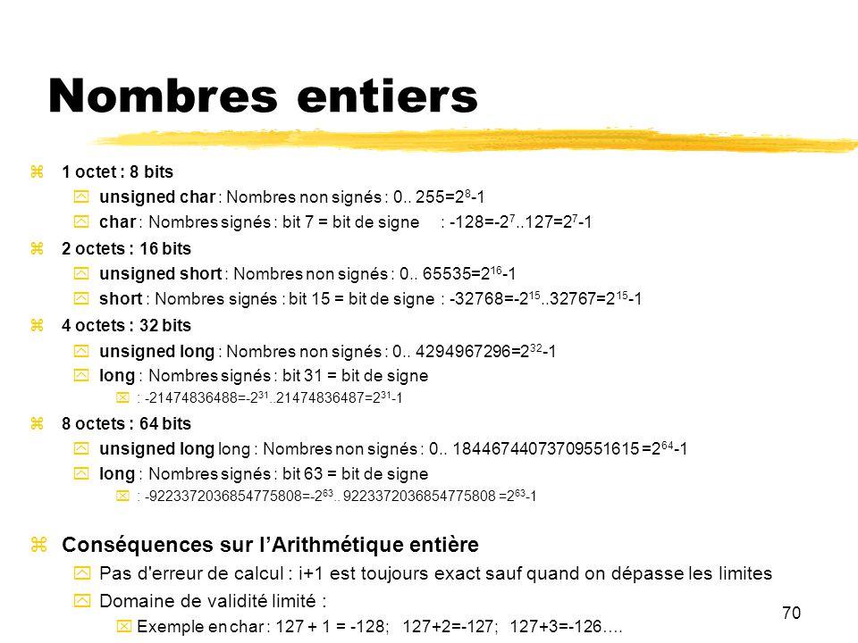 70 Nombres entiers 1 octet : 8 bits unsigned char : Nombres non signés : 0.. 255=2 8 -1 char : Nombres signés : bit 7 = bit de signe : -128=-2 7..127=