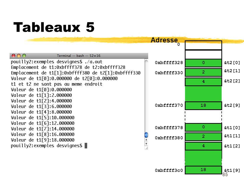 85 Tableaux 5 0 0xbffff328&t2[0] Adresse &t2[1] &t2[2] … &t2[9] 6.8 18 5.3 4 4.6 2 0 0 &t1[0] &t1[1] &t1[2] &t1[9] 0xbffff330 0xbffff378 0xbffff380 0x