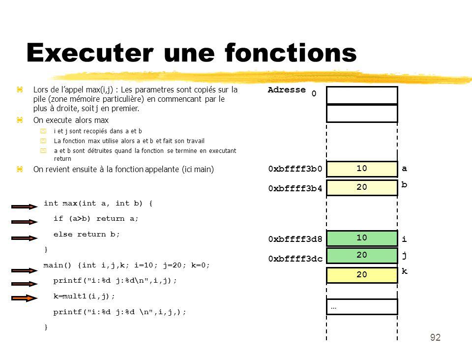 0 92 Executer une fonctions 20 10 0 Adresse i … j 20 10 0xbffff3b0 a b 0xbffff3b4 0xbffff3d8 0xbffff3dc 20 Lors de lappel max(i,j) : Les parametres so