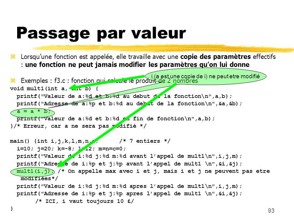 93 Passage par valeur Lorsquune fonction est appelée, elle travaille avec une copie des paramètres effectifs : une fonction ne peut jamais modifier le