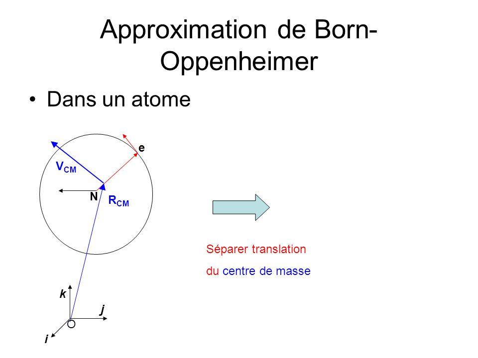Approximation de Born- Oppenheimer Dans un atome e N V CM R CM O i j k ou séparer translation du noyau N