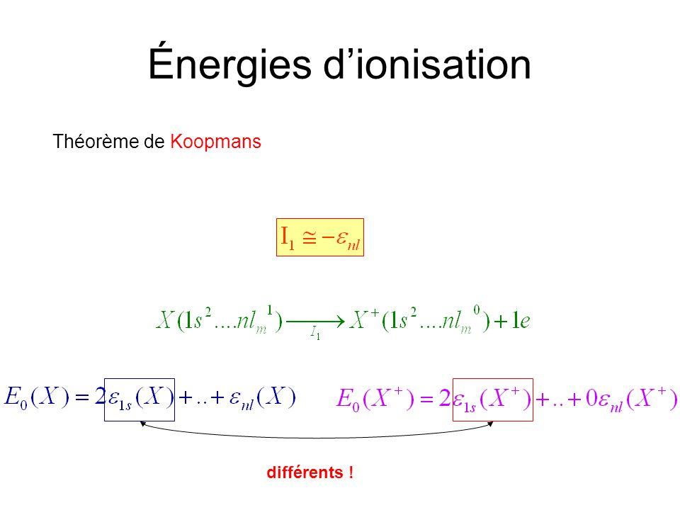 Énergies dionisation Théorème de Koopmans différents !