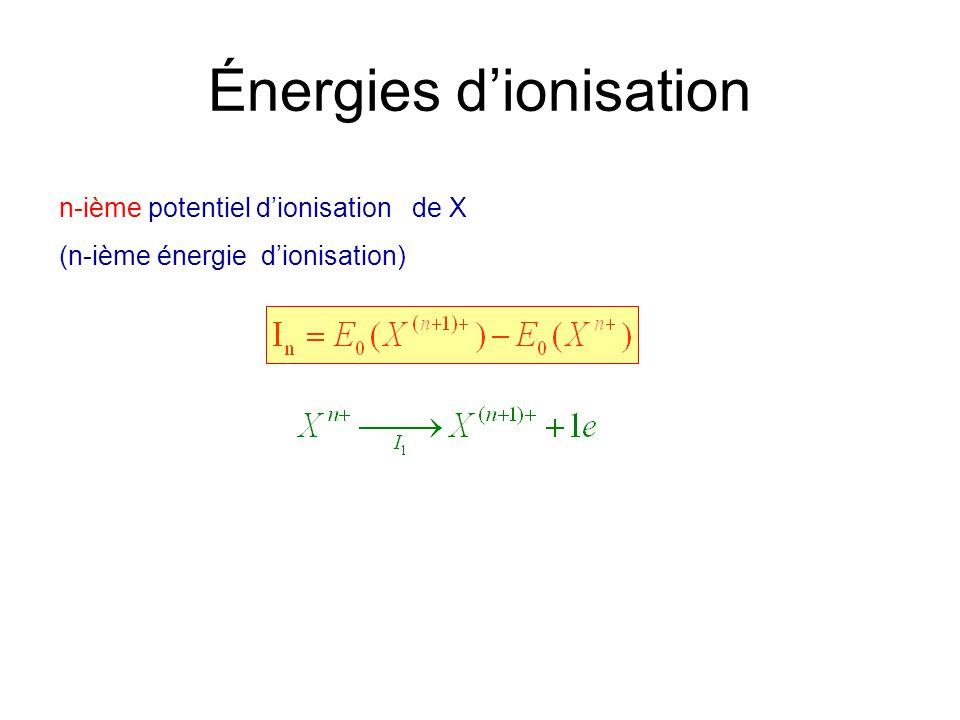 Énergies dionisation n-ième potentiel dionisation de X (n-ième énergie dionisation)