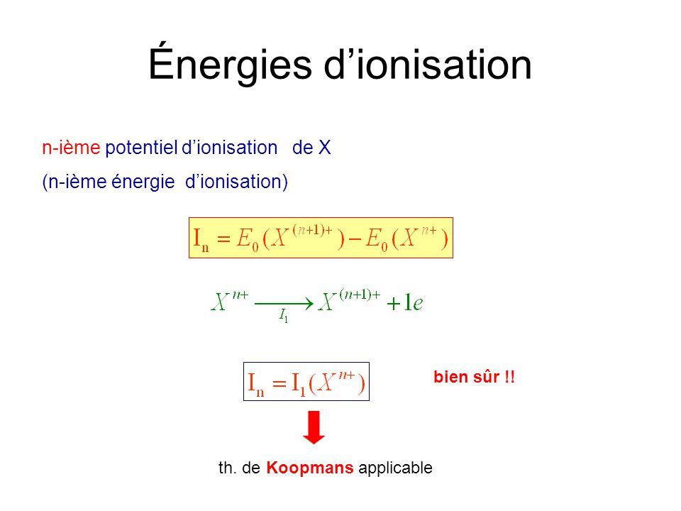 Énergies dionisation n-ième potentiel dionisation de X (n-ième énergie dionisation) bien sûr !! th. de Koopmans applicable