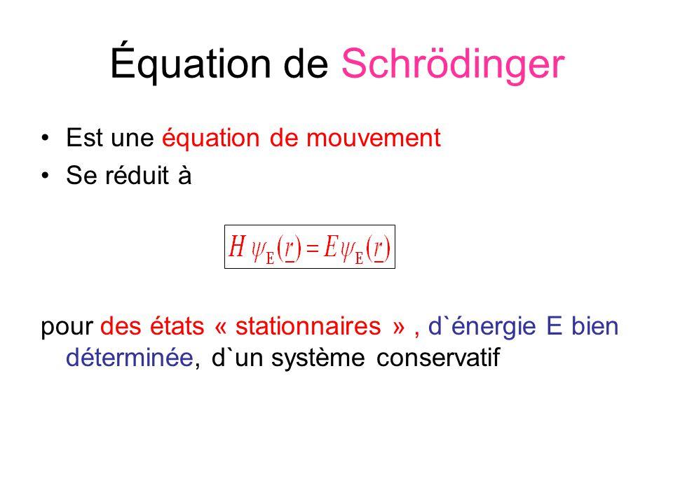 Équation de Schrödinger Est une équation de mouvement Se réduit à pour des états « stationnaires », d`énergie E bien déterminée, d`un système conserva
