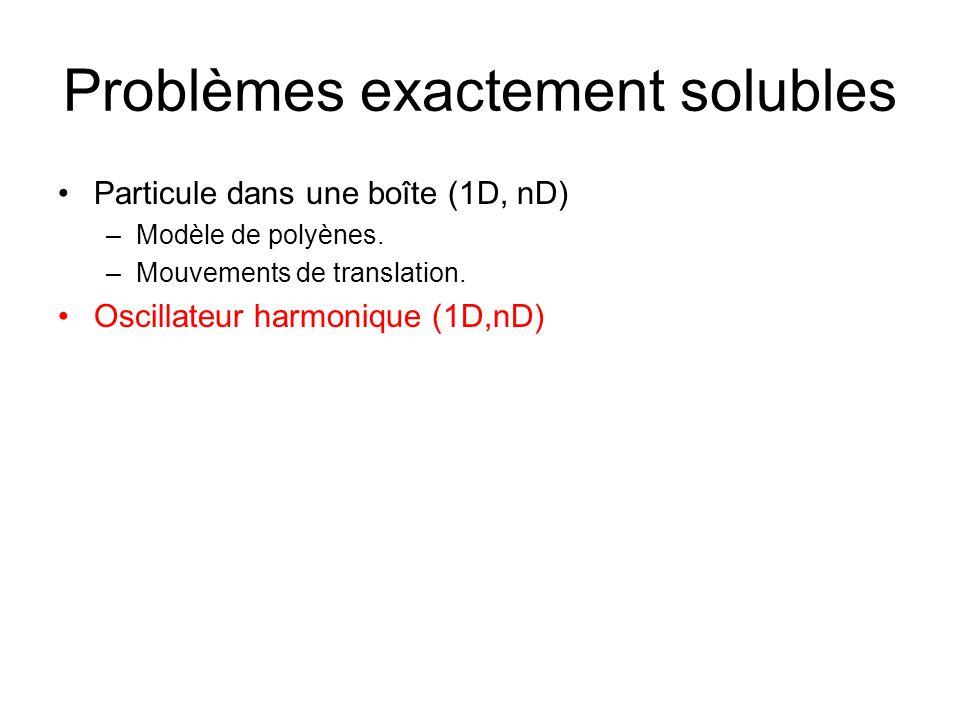 Problèmes exactement solubles Particule dans une boîte (1D, nD) –Modèle de polyènes. –Mouvements de translation. Oscillateur harmonique (1D,nD)