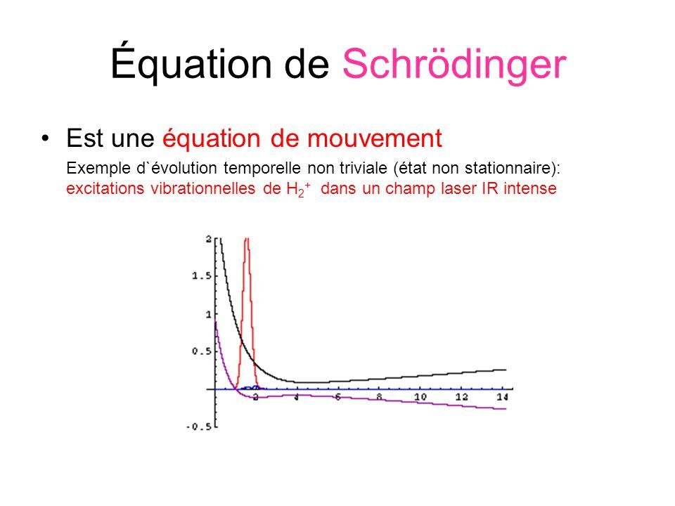 Équation de Schrödinger Est une équation de mouvement Exemple d`évolution temporelle non triviale (état non stationnaire): excitations vibrationnelles