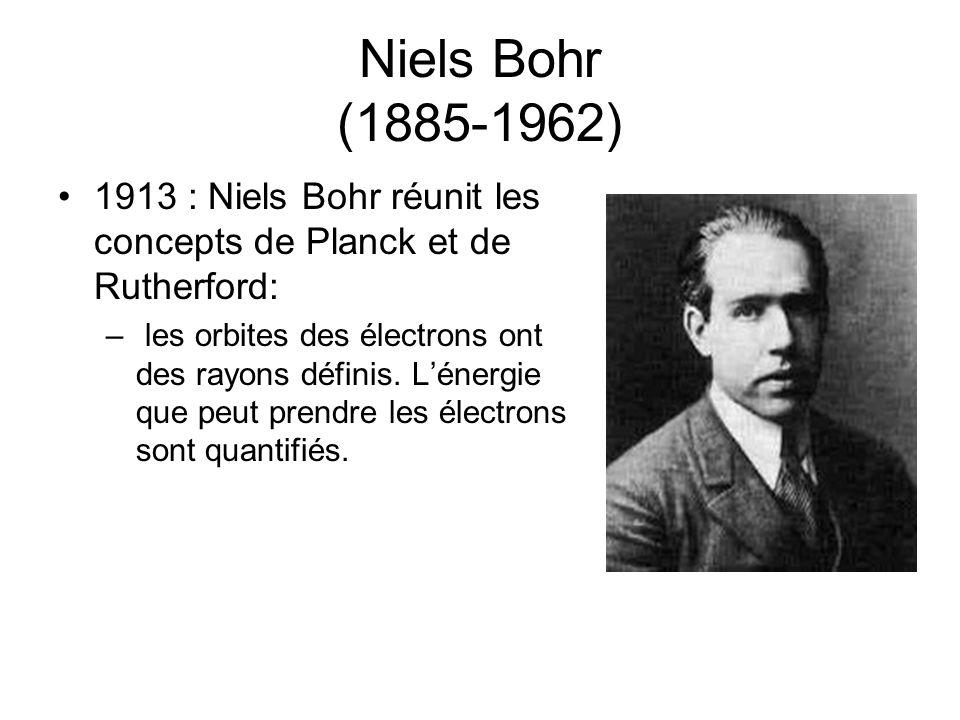 Niels Bohr (1885-1962) 1913 : Niels Bohr réunit les concepts de Planck et de Rutherford: – les orbites des électrons ont des rayons définis. Lénergie