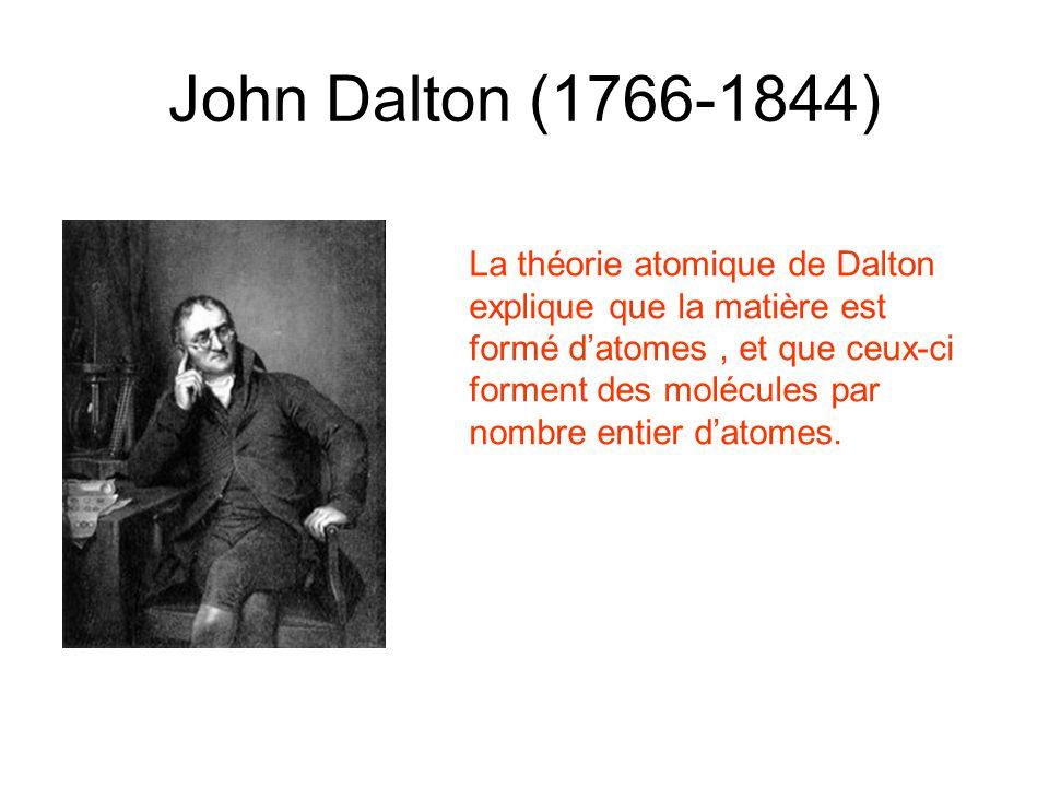 John Dalton (1766-1844) La théorie atomique de Dalton explique que la matière est formé datomes, et que ceux-ci forment des molécules par nombre entie