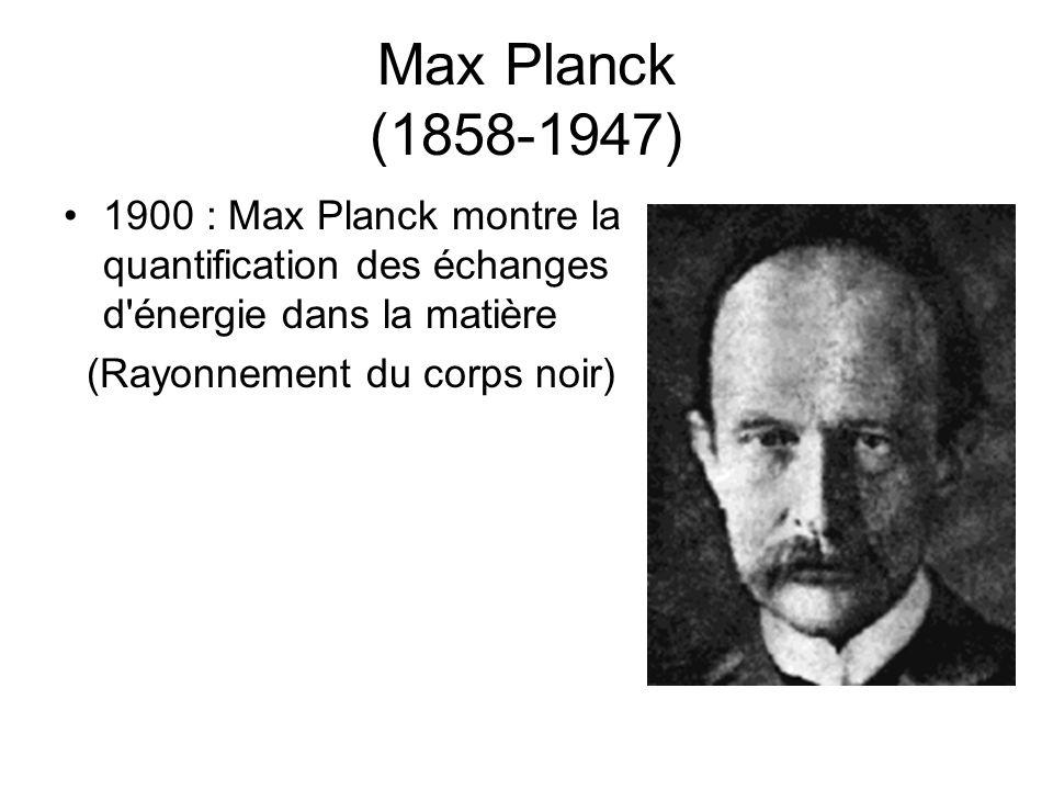 Max Planck (1858-1947) 1900 : Max Planck montre la quantification des échanges d'énergie dans la matière (Rayonnement du corps noir)