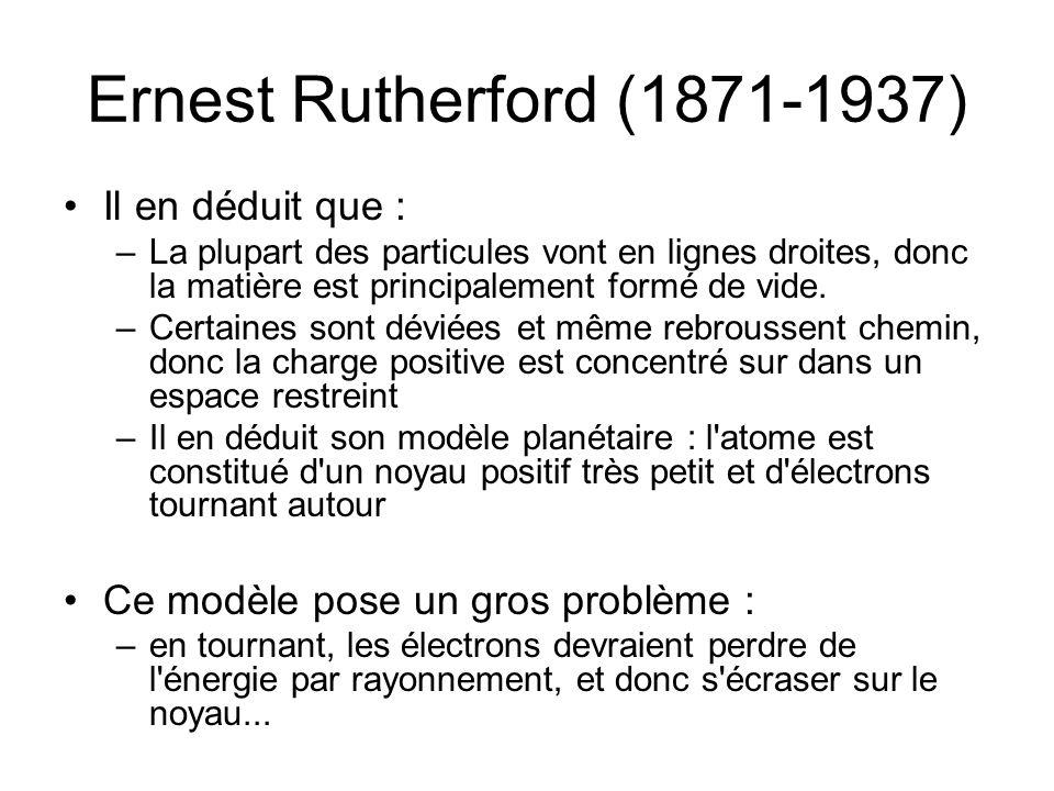 Niels Bohr (1885-1962) 1913 : Niels Bohr réunit les concepts de Planck et de Rutherford: – les orbites des électrons ont des rayons définis.