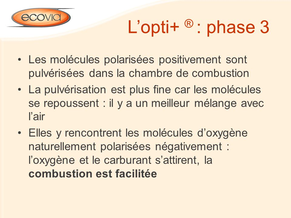 Les molécules polarisées positivement sont pulvérisées dans la chambre de combustion La pulvérisation est plus fine car les molécules se repoussent :
