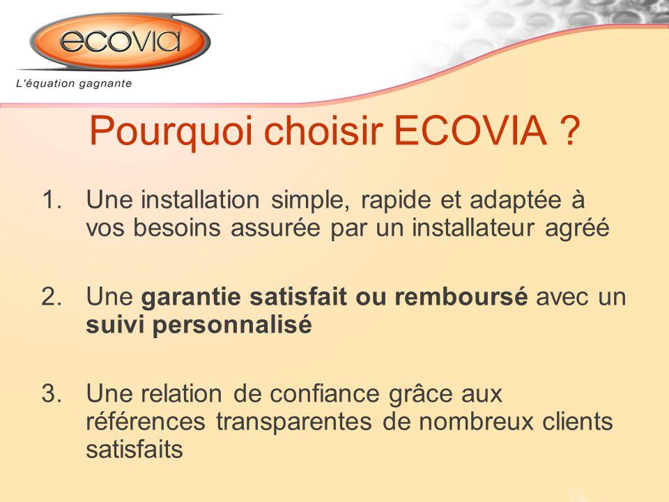 Pourquoi choisir ECOVIA ? 1.Une installation simple, rapide et adaptée à vos besoins assurée par un installateur agréé 2.Une garantie satisfait ou rem
