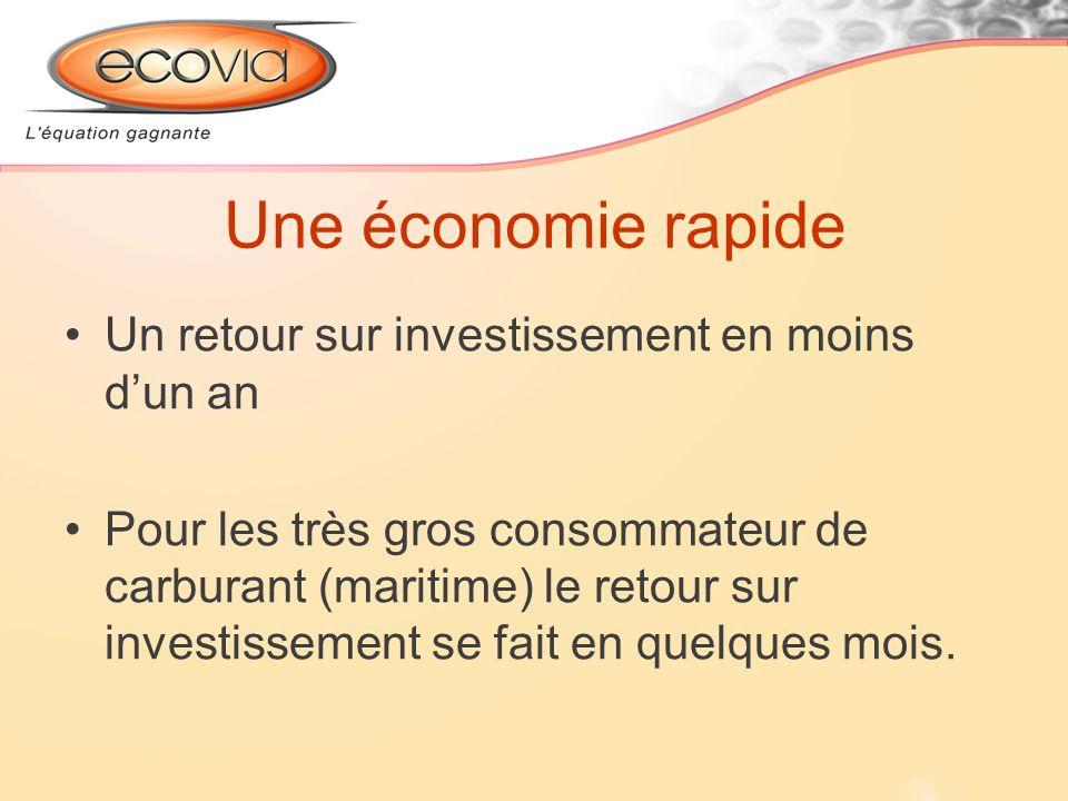 Une économie rapide Un retour sur investissement en moins dun an Pour les très gros consommateur de carburant (maritime) le retour sur investissement