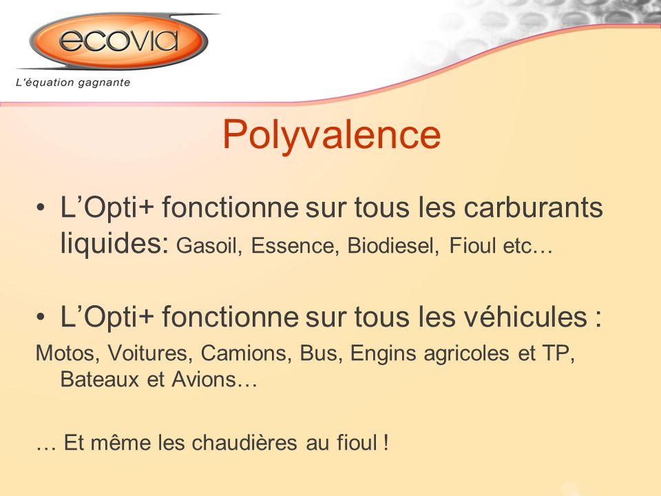 Polyvalence LOpti+ fonctionne sur tous les carburants liquides: Gasoil, Essence, Biodiesel, Fioul etc… LOpti+ fonctionne sur tous les véhicules : Moto