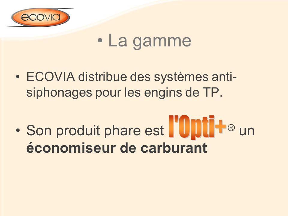 La gamme ECOVIA distribue des systèmes anti- siphonages pour les engins de TP. Son produit phare est ® un économiseur de carburant