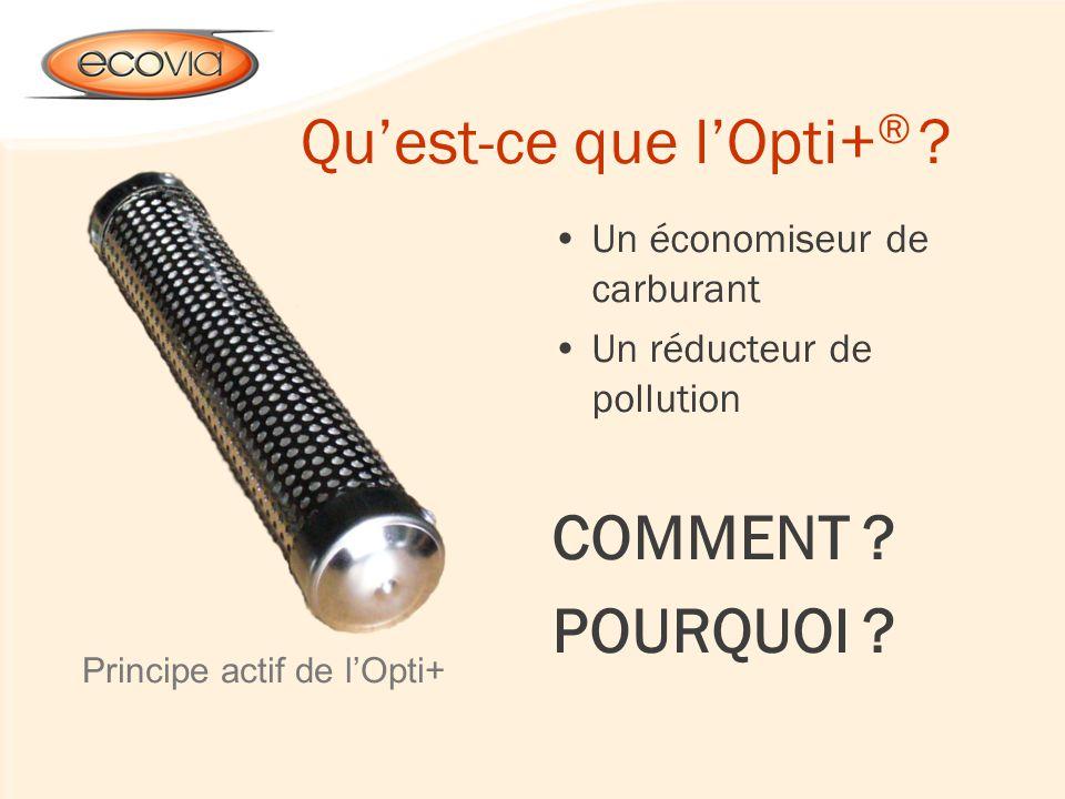 Quest-ce que lOpti+ ® ? Un économiseur de carburant Un réducteur de pollution COMMENT ? POURQUOI ? Principe actif de lOpti+