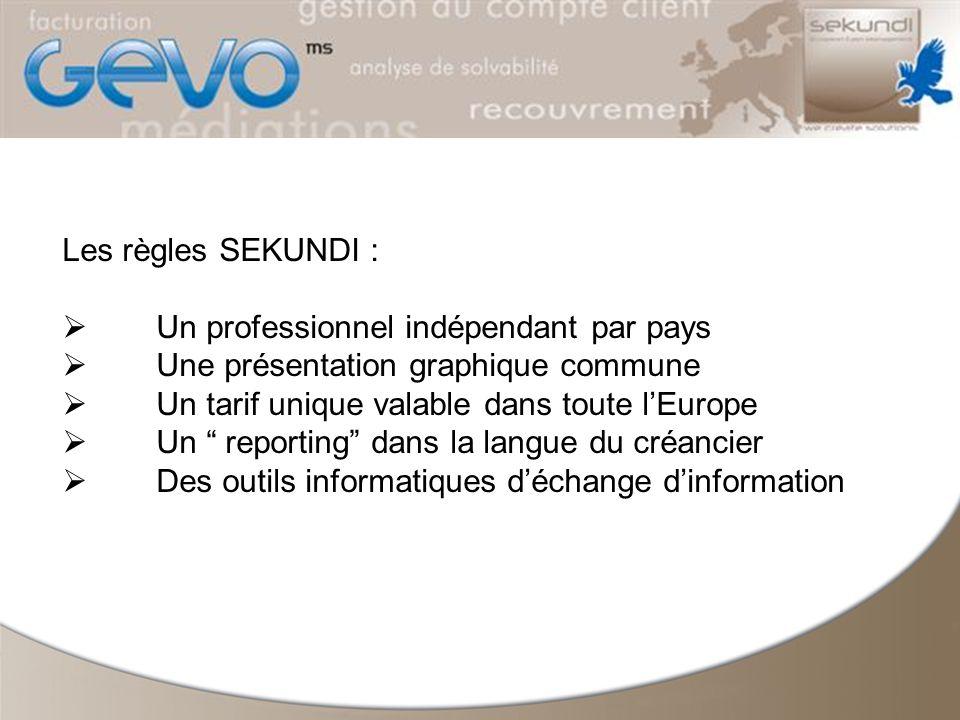 Les règles SEKUNDI : Un professionnel indépendant par pays Une présentation graphique commune Un tarif unique valable dans toute lEurope Un reporting dans la langue du créancier Des outils informatiques déchange dinformation