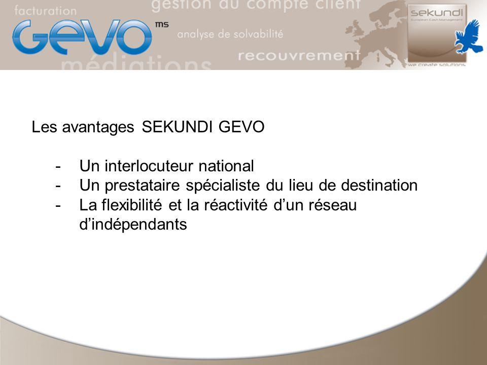 Les avantages SEKUNDI GEVO -Un interlocuteur national -Un prestataire spécialiste du lieu de destination -La flexibilité et la réactivité dun réseau dindépendants