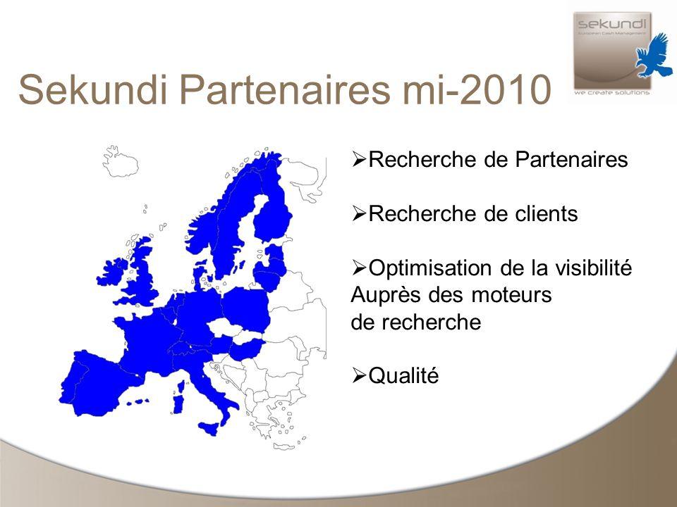Sekundi Partenaires mi-2010 Recherche de Partenaires Recherche de clients Optimisation de la visibilité Auprès des moteurs de recherche Qualité
