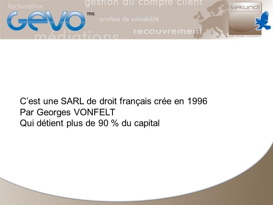 Cest une SARL de droit français crée en 1996 Par Georges VONFELT Qui détient plus de 90 % du capital