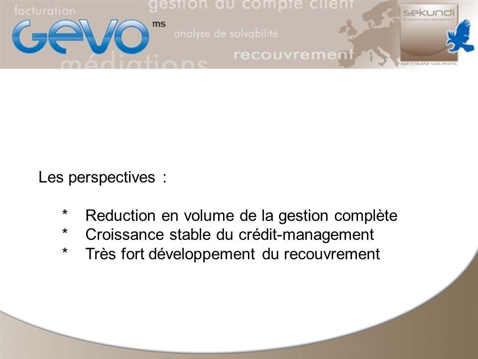 Les perspectives : *Reduction en volume de la gestion complète *Croissance stable du crédit-management *Très fort développement du recouvrement
