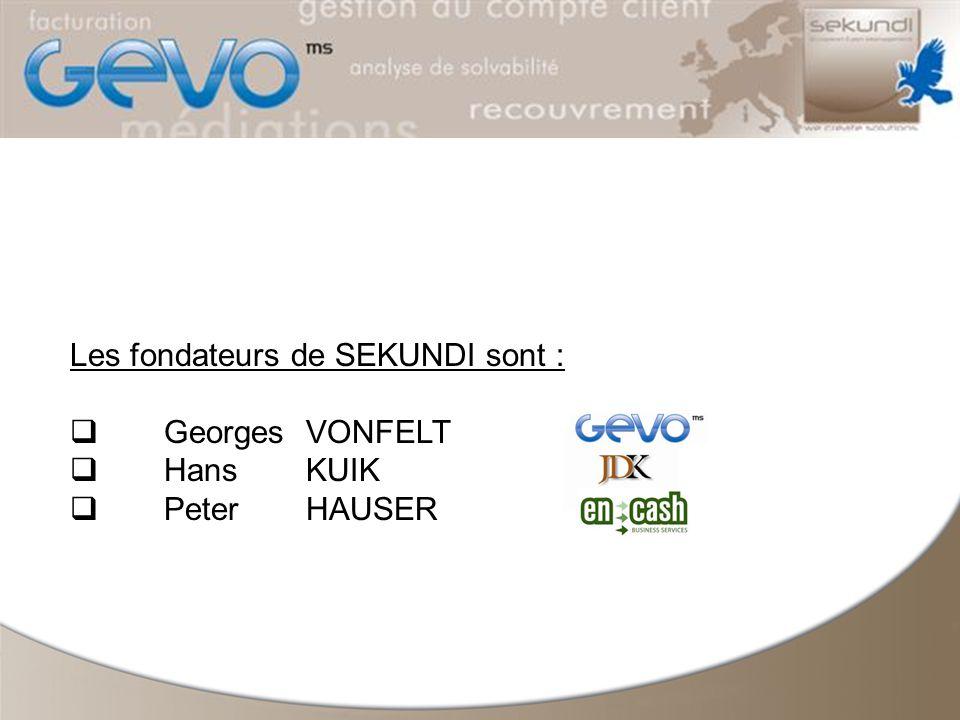 Les fondateurs de SEKUNDI sont : Georges VONFELT HansKUIK Peter HAUSER