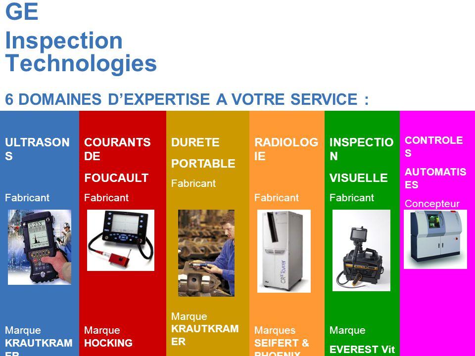 GE Inspection Technologies COURANTS DE FOUCAULT Fabricant Marque HOCKING DURETE PORTABLE Fabricant Marque KRAUTKRAM ER RADIOLOG IE Fabricant Marques SEIFERT & PHOENIX INSPECTIO N VISUELLE Fabricant Marque EVEREST Vit ULTRASON S Fabricant Marque KRAUTKRAM ER CONTROLE S AUTOMATIS ES Concepteur 6 DOMAINES DEXPERTISE A VOTRE SERVICE :