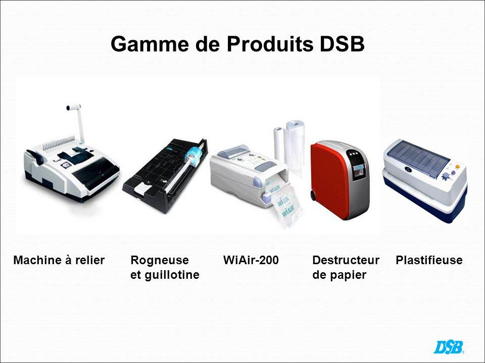 Gamme de Produits DSB Machine à relierRogneuse et guillotine WiAir-200Destructeur de papier Plastifieuse