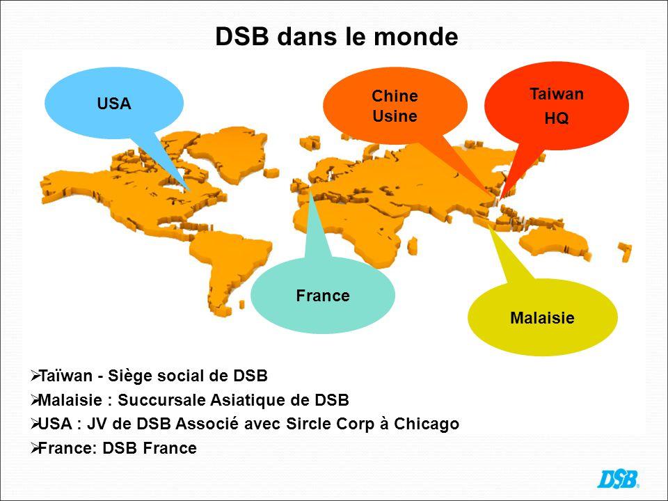 DSB dans le monde Malaysia: DSB Asian Branch France USA Malaisie Taiwan HQ Taïwan - Siège social de DSB Malaisie : Succursale Asiatique de DSB USA : JV de DSB Associé avec Sircle Corp à Chicago France: DSB France Chine Usine