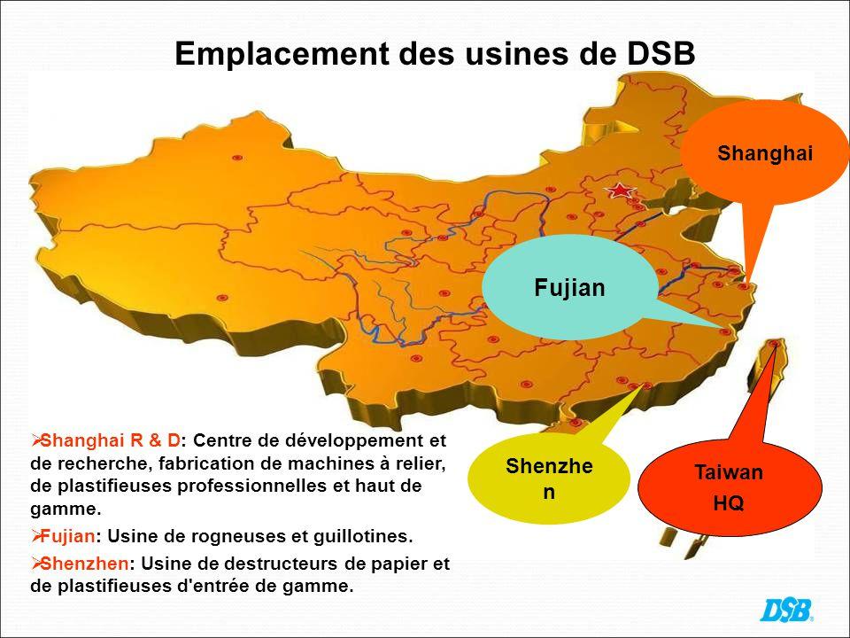 Emplacement des usines de DSB Shanghai Fujian Taiwan HQ Shenzhe n Shanghai R & D: Centre de développement et de recherche, fabrication de machines à relier, de plastifieuses professionnelles et haut de gamme.