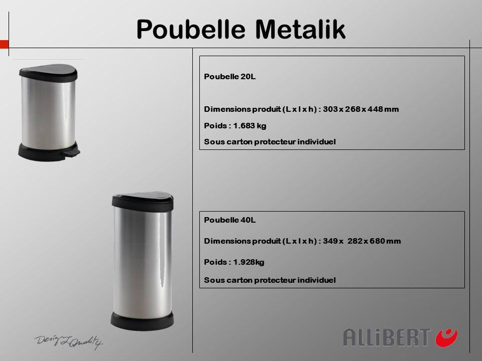 Poubelle 20L Dimensions produit (L x l x h) : 303 x 268 x 448 mm Poids : 1.683 kg Sous carton protecteur individuel Poubelle 40L Dimensions produit (L