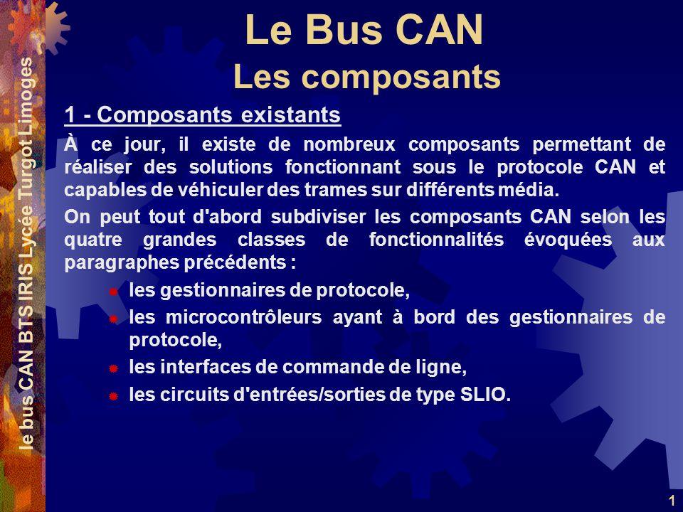 Le Bus CAN le bus CAN BTS IRIS Lycée Turgot Limoges 1 1 - Composants existants À ce jour, il existe de nombreux composants permettant de réaliser des solutions fonctionnant sous le protocole CAN et capables de véhiculer des trames sur différents média.