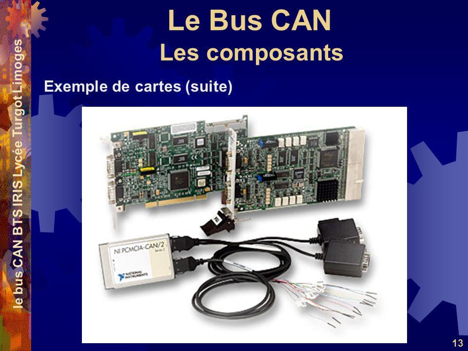 Le Bus CAN le bus CAN BTS IRIS Lycée Turgot Limoges 13 Exemple de cartes (suite) Les composants